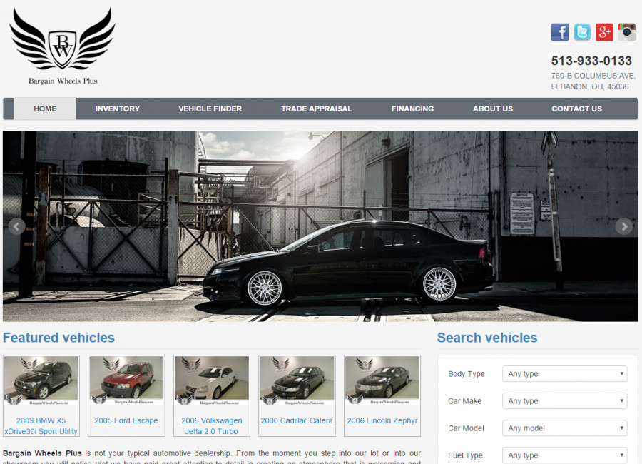 Bargain Wheels Plus Website